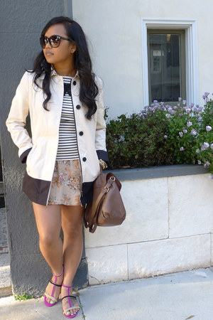 neon flats Zara sandals - banana republic jacket - striped banana republic shirt