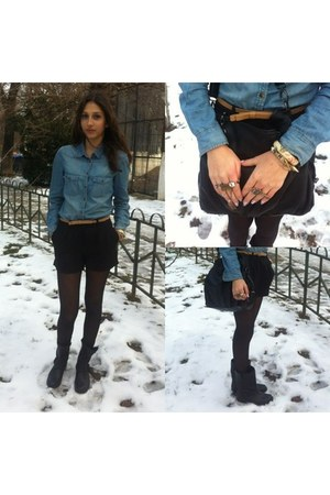 sky blue jeans H&M shirt - black Stradivarius boots - black Accessorize bag