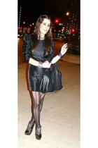 black H&M dress - black Givenchy tights - gold Report Signature shoes - black Al