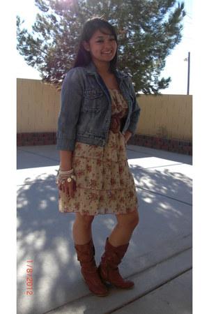 denim Bullhead jacket - Miss Me boots - Poetry dress
