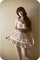 bubble gum lace Liz Lisa dress - light brown leather pieces belt