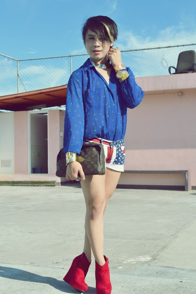 clutch Louis Vuitton bag - michael antonio shoes - shorts - Forever 21 top