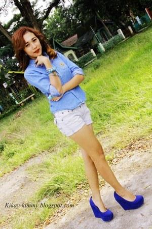 denim shirt Ralph Lauren blouse - Primadonna wedges