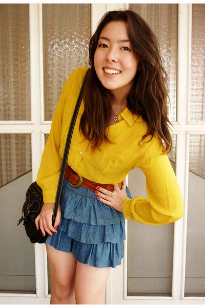 blue denim skirt Target skirt - vintage shirt - vintage bag - Kmart belt