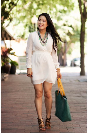 white chiffon Sheinside dress - turquoise blue Taleen bag