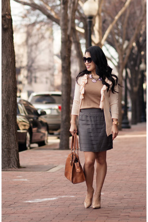 neutral Gap cardigan - camel J Crew sweater - heather gray Forever 21 skirt