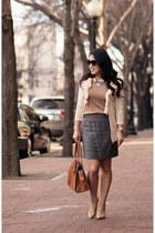 neutral Gap cardigan - camel J Crew sweater - heather gray Forever 21 skirt