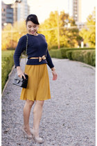 mustard pleated skirt Forever 21 skirt - navy Gap sweater - black Chanel purse