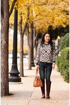 brown Frye boots - navy BDG jeans - charcoal gray Forever 21 sweater