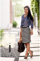 violet chambray Urban Outfitters top - black striped banana republic skirt