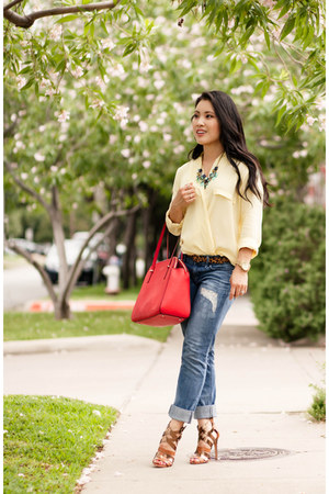 red kate spade bag - blue Express jeans - light yellow tbdress shirt