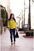 yellow Gap sweater - navy rag & bone jeans - white polka dot H&M shirt