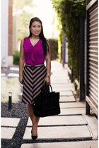 Loft shoes - Celine purse - ann taylor skirt - The Limited top