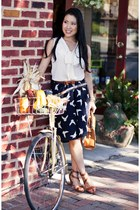navy Surfdome skirt - bronze Sole Society shoes - white Loft shirt
