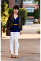 camel striped Forever 21 blazer - white Delias jeans - blue ruched Express shirt
