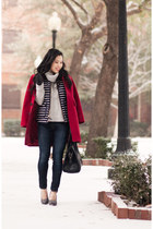 red wool banana republic coat - navy skinny rag & bone jeans