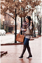 camel tartan Zara scarf - dark brown Michael Kors boots