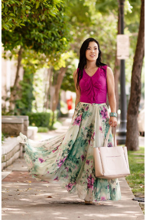 aquamarine Chicwish skirt - magenta The Limited shirt - off white ann taylor bag