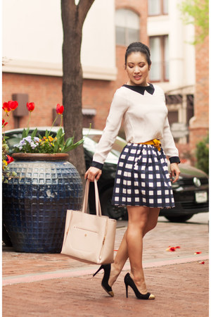 black gingham banana republic skirt - white Zara shirt