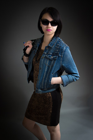 blue denim chiqle jacket - brown George dress - black Toxic sunglasses