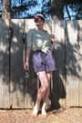 Blue-thrifted-vintage-shorts-brown-thrifted-vintage-shoes-green-gap-shirt-