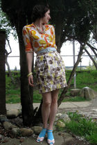 yellow rw & cio skirt - orange thrifted top - pink thrifted necklace - pink thri