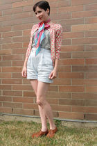 blue BCBG shorts - silver joe fresh style t-shirt - pink joe fresh style cardiga