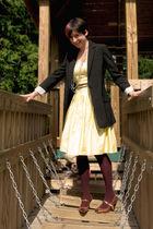 gold Urban Planet dress - black Smart Set blazer - purple joe fresh style tights