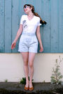 Blue-bcbg-shorts-white-gap-shirt-brown-vintage-shoes-white-chanel-sunglass
