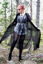black sheer cape - silver necklace - heather gray vest