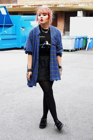 black creepers Underground shoes - blue flanel shirt