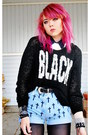 Black-creepers-underground-shoes-black-sweater-periwinkle-diy-shorts