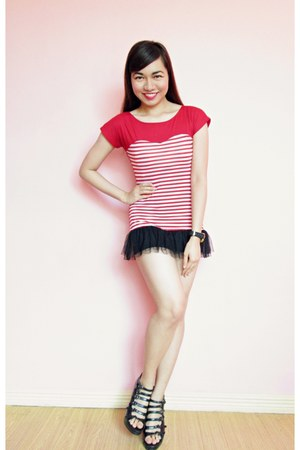 red stripped tutu top