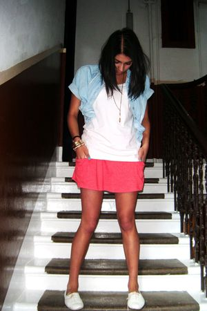 red Primark skirt - denim vintage shirt