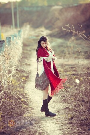black boots - red scarf