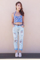 boyfriend jeans Yesstyle jeans - floral print Forever New top