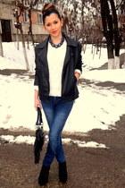 black Jeffrey Campbell boots - blue skinny random jeans