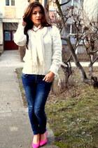 white H&M scarf - blue skinny random brand jeans - white soft thrifted blouse