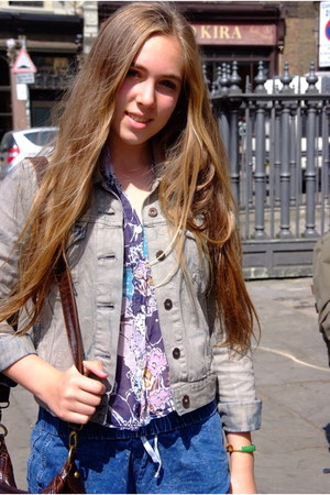 periwinkle Levis jacket - deep purple vintage shirt - Topshop bag - blue Topshop