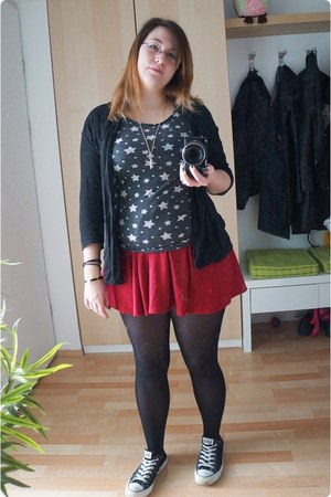 black H&M tights - black H&M cardigan - ruby red H&M skirt