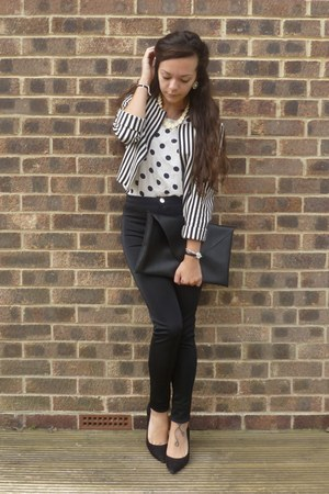 stripe HandM blazer - envelope clutch DIY bag - polkda-dot new look top