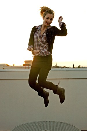 Kookai cardigan - H&M shirt - Forever 21 skirt - H&M boots