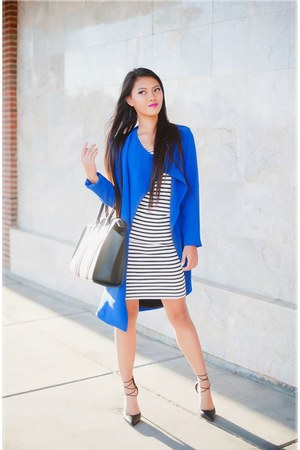 blue jacket LuLus jacket - white stripes LuLus dress - black LuLus bag