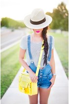 beige Forever 21 hat - yellow satchel daily look bag