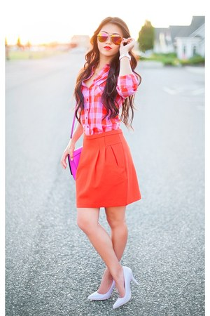 amethyst H&M purse - periwinkle Rampage pumps - carrot orange Forever 21 skirt