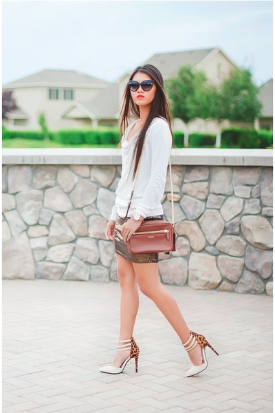 off white Target sweater - brown coach purse - black zeroUV sunglasses