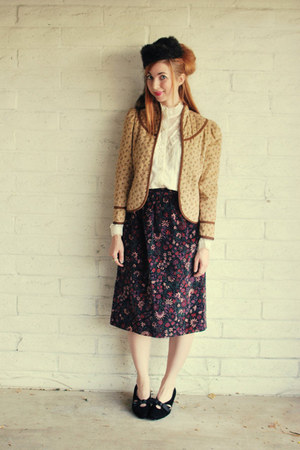 purple velvet vintage skirt - camel corduroy Pretty Lee jacket
