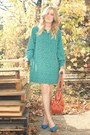 Teal-vintage-dress-burnt-orange-purse-blue-go-jane-heels