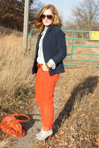 red J Crew pants - navy J Crew sweater - light blue American Eagle shirt