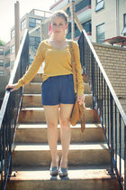 mustard Urban Outfitters top - bronze Loris Shoes purse - blue Forever 21 shorts